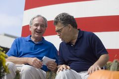 Iowa Sen. Tom Harkin and Minnesota Sen. Al Franken. Iowa Sen. Tom Harkin laughs at something said by Minnesota Sen. Al Franken during Harkin's annual steak fry Stock Photo