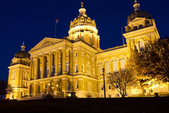 Iowa State Capitol Building. Externally illuminated exterior of the Iowa State Capitol building in Des Moines, Iowa, at night royalty free stock photo
