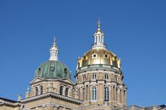 Iowa State Capitol-Des Moines, Iowa. View of the gold plated domed of the Iowa State Capitol building in Des Moines, Iowa Royalty Free Stock Photography