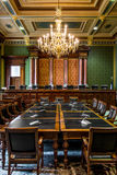Iowa State Capitol Supreme Court Room. Inside the Des Moines Iowa State Capital building with ornate architecture, gold chandelier and painted ceilings royalty free stock photos