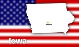 Iowa state contour Royalty Free Stock Image