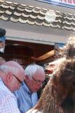 Iowa State Fair: Bernie Sanders listens to supporter, August 15, 2015 Stock Photo