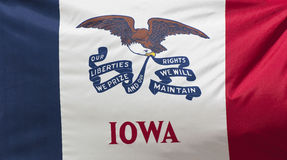 Iowa State Flag. A close-up of the Iowa State Flag waving in the wind royalty free stock photo