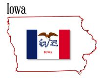 Iowa State Map and Flag Stock Image