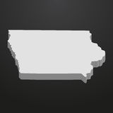 Iowa State map in gray on a black background 3d Royalty Free Stock Photos