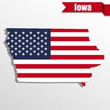 Iowa State map with US flag inside and ribbon Royalty Free Stock Image