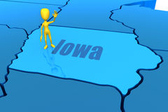 Iowa state outline with yellow stick figure Royalty Free Stock Photos
