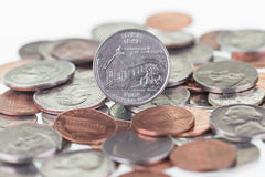 Iowa State Quarter reverse extreme close up Stock Photos
