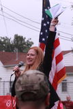 Iowa state Senator Amy Sinclair, R-Allerton, speaks at Save Our Cross Rally, Knoxville, Iowa Stock Photo