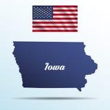 Iowa state with shadow with USA waving flag Stock Photos