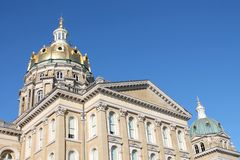 Iowa statKapitolium-Des Moines, Iowa Arkivfoto