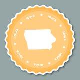 Iowa sticker flat design. Royalty Free Stock Photo