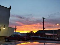 Iowa town sunset. Iowa country town sun royalty free stock photo