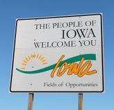 Iowa välkommet tecken Fotografering för Bildbyråer
