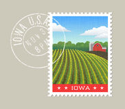 Iowa vector illustration of corn field and red barn. Royalty Free Stock Photo