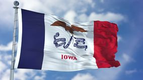 Iowa Waving Flag. Iowa U.S. state flag waving against clear blue sky, close up, isolated with clipping path mask luma channel, perfect for film, news stock images