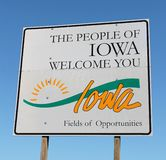 Iowa Welcome Sign. View of an Iowa welcome sign at the entrance of the state Stock Image