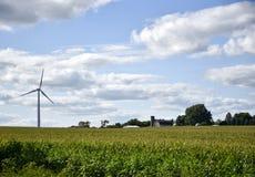 Iowa windmills and farm Stock Image