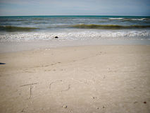 Iowa written in sand Stock Photography