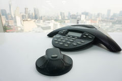IP有流动报告人的会议电话 免版税库存图片