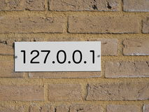 Ip address. House number plate with an ip address stock image