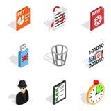 IP address icons set, isometric style. IP address icons set. Isometric set of 9 ip address vector icons for web isolated on white background royalty free illustration