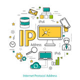 IP Address - Line concept. Vector thin line art round concept of IP address. Banner for web infographic or techology innovation. Internet commucation Vector Illustration