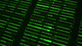 IP addresses and passwords. Animation. Generation of all passwords and addresses of network users inside database