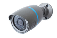 IP camera, security surveillance ip-cam isolated on white. Outdoor and waterproof ip security surveillance video camera isolated on white background Stock Photo