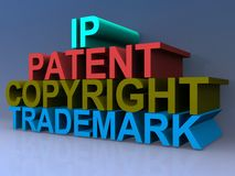 IP, patent, copyright, trademark. Intellectual property rights components IP, Patent, Copyright and Trademark spelled in 3D block letters on purple Stock Photos