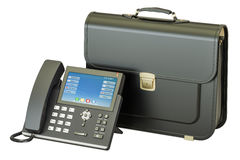 IP Phone with briefcase, business concept. 3D rendering Royalty Free Stock Image