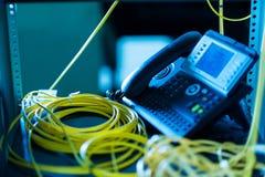 Ip-telefon i nätverksrum Fotografering för Bildbyråer