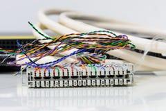IP telefoniesysteem, Telefoon die flardpaneel met verdraaide parenkabels telegraferen voor digitale en analoge telefoonverbinding Stock Afbeelding