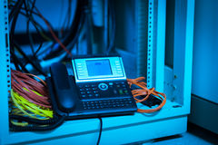 IP telefoon in netwerkruimte Stock Foto