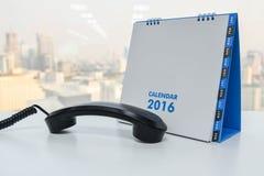 IP Telefoonzaktelefoon en kalender van 2016 Royalty-vrije Stock Foto's