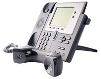 IP telephone off-hook. IP telephone set, off-hook, isolated on the white Royalty Free Stock Images