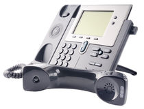 IP telephone set, off-hook. Office IP telephone set,  off-hook, isolated on the white Royalty Free Stock Photos