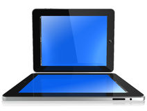 IPad. Two new Apple iPad black glossy and chromed, blue screen, isolated on white and view like a laptop stock illustration