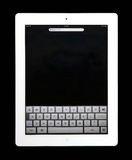IPad 2. The new iPad 2 in search mode, isolated on black background stock image