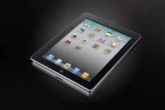 Ipad 2 on black glass (clipping path) Stock Image