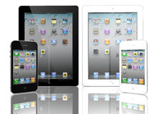 iPad 2 de Apple e iPhone 4 blanco y negro Imagenes de archivo