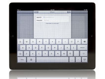 Ipad 3 with iCloud connection Royalty Free Stock Photo