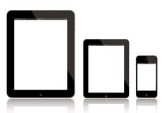 IPad AIR, new iPad Mini and iPhone. Illustration of New iPad AIR 4 (left), iPad Mini (middle) and iPhone 5 (right). Apple has released an iPad Mini to fend off Royalty Free Stock Images