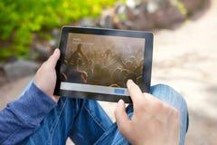 供以人员拿着与慌张的iPad在屏幕上 免版税库存照片