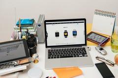 IPad d'ordinateurs Apple nouvel pro, iPhone 6s, 6s plus et Apple TV Photo stock