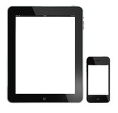 iPad de Apple e iphone 4G isolados no branco Imagem de Stock