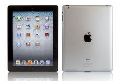 iPad del Apple con i percorsi di residuo della potatura meccanica Immagine Stock