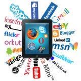Ipad e logotipos sociais da rede Fotos de Stock