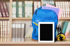 Ipad. Education Backpack Back to School Technology Classroom Learning Stock Photos
