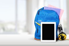 Ipad. Education Backpack Back to School Technology Classroom Learning Royalty Free Stock Photography